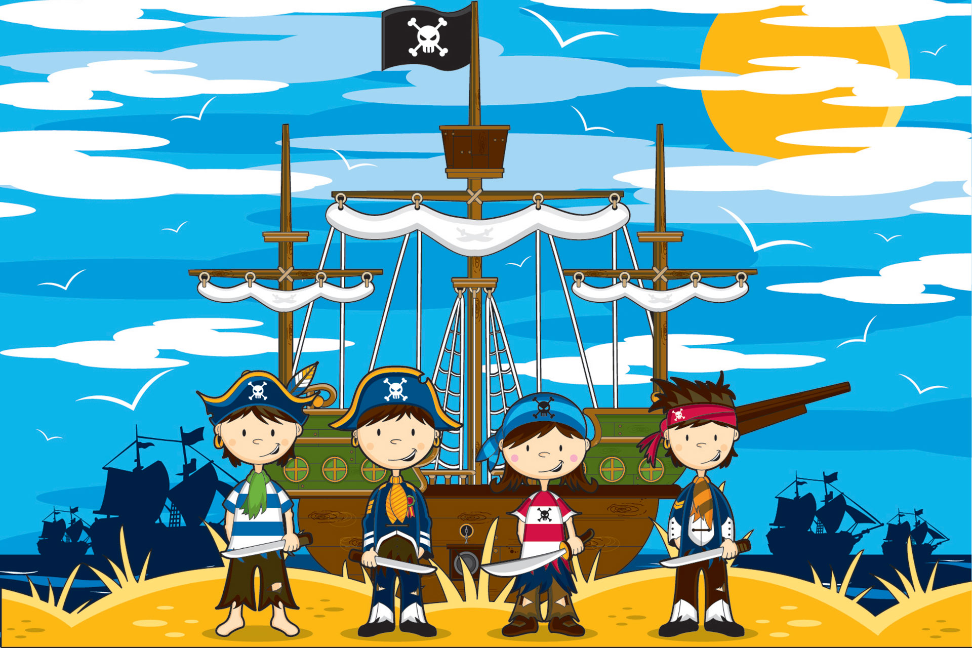 Illustration of young pirates