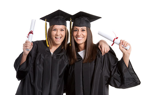 Two female college graduates
